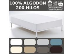 SABANAS BAJERAS COMBI 100% Algodón LISO 200 Hilos de Es-Tela